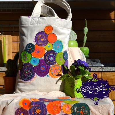ست شال و کیف گل پامچال چاپ دستی نیک طبع دیزاین