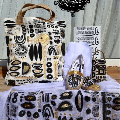 ست شال و کیف کفش و کیف موبایل چاپ دستی نیک طبع دیزاین