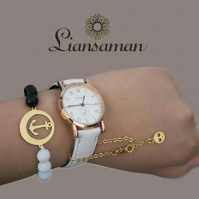 ست ساعت و دستبند سنگی+هدیه آویز ساعت استیل