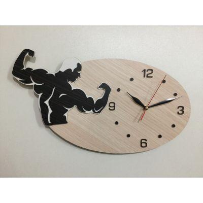 ساعت دیواری چوبی مخصوص بدنسازی مردانه