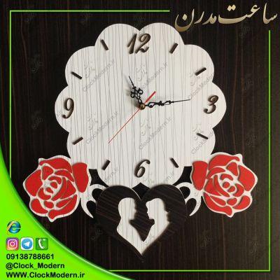 ساعت دیواری عاشقانه قلبی طرح گلهای رز