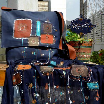 ست شال و کیف چرم نقاشی شده نیک طبع دیزاین