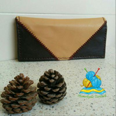 کیف پول دستدوز چرمی