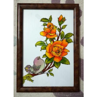 تابلو ویترای طرح گل و مرغ