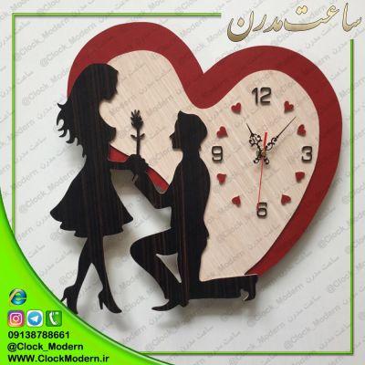 ساعت دیواری دستساز و چوبی عاشقانه