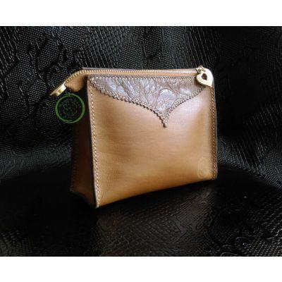 کیف لوازم آرایش چرم طبیعی