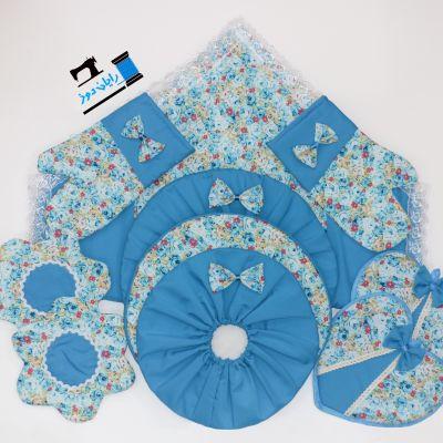 سرویس ۱۰ تکه گلدار آبی