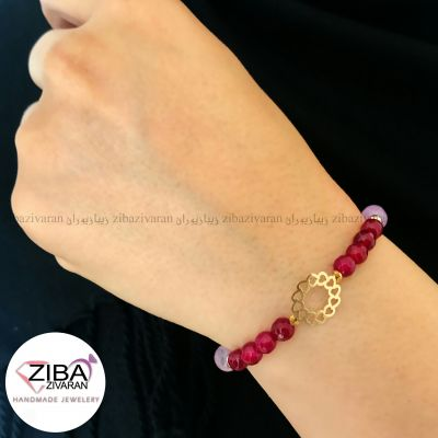 دستبند سنگ و طلا مدل قلب