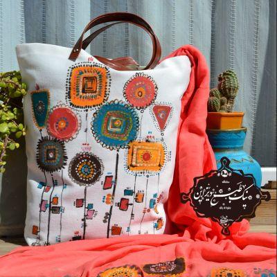 ست شال و کیف چاپ دستی نیک طبع دیزاین« مرجانی رنگ سال ۹۸»