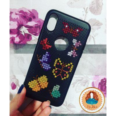 کد ۱45- قاب موبایل شماره دوزی شده با طرح پروانه و مناسب برای گوشی IphoneX , Xs