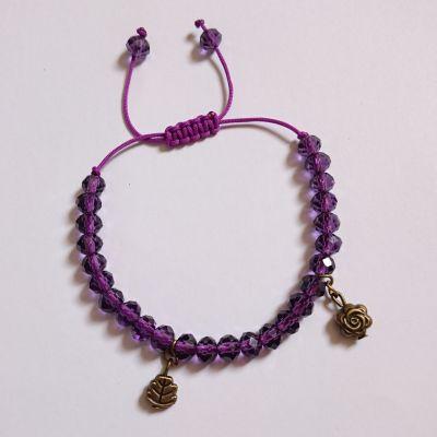 دستبند با آویز گل و برگ