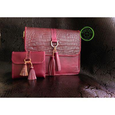 ست کیف دستی و کیف یکطرفه چرم طبیعی