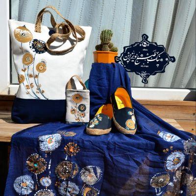 ست شال و کیف کفش و کیف موبایلچاپ دستی نیک طبع دیزاین« مرجانی رنگ سال ۹۸»