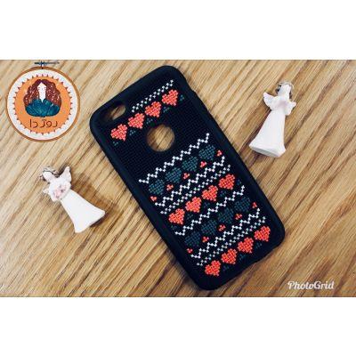 کد ۱۱۳- قاب موبایل شماره دوزی شده با طرح قلب❤️💚 مناسب برای گوشی Iphone 6.