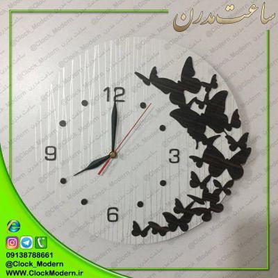 ساعت دیواری دایره ای طرح پروانه ها