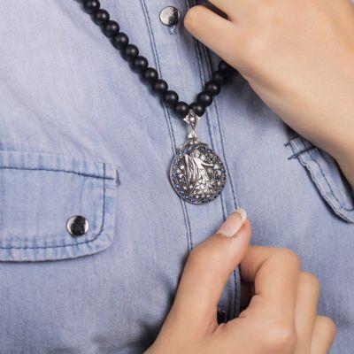 گردنبند نقره ماه تولد - شهریور
