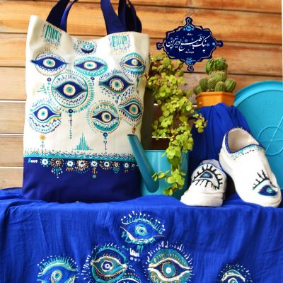 ست شال و کیف و گیوه نقاشی شده نیک طبع دیزاین