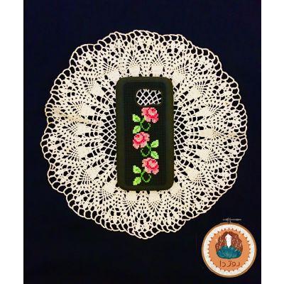 کد ١١٨- قاب موبایل مشكى با طرح گل صورتي ستوني🌸 مناسب برای گوشی سامسونگ اس 7
