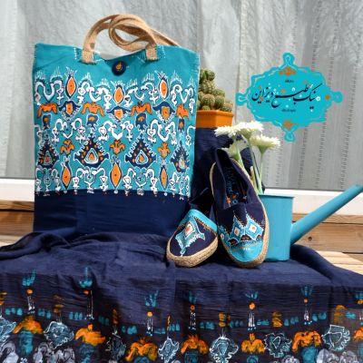 ست شال کیف و کفش چاپ دستی نیک طبع دیزاین