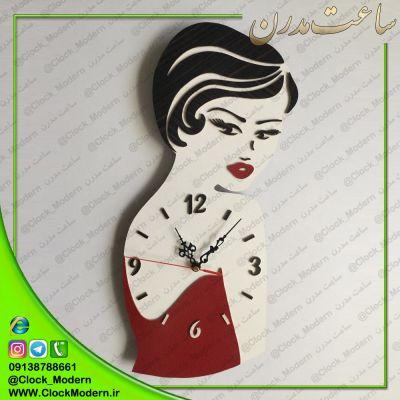 ساعت دیواری رخ زن با لباس قرمز