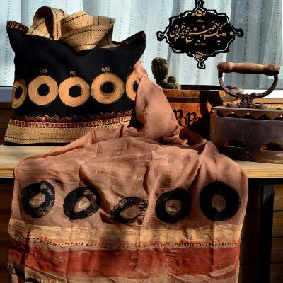 ست شال و کیف چاپ دستی نیک طبع دیزاین(طرح سرخپوستی)