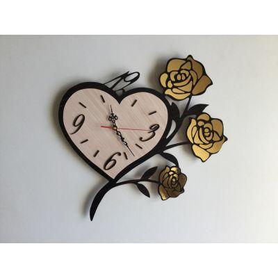 ساعت دیواری دستساز قلب و رز طلایی