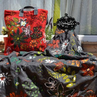 ست روسری و کیف گل استوایی چاپ دستی نیک طبع دیزاین