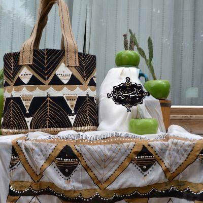 ست شال کیف  چاپ دستی نیک طبع دیزاین