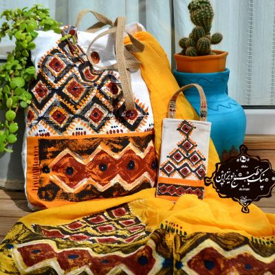 ست شال و کیف چاپ دستی نیک طبع دیزاین