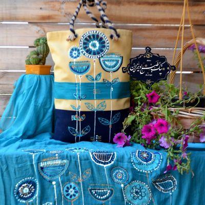 ست شال و کیف چاپ دستی نیک طبع دیزاین، گل فیروز