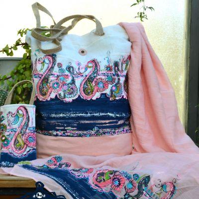 ست شال و کیف چاپ دستی نیک طبع دیزاین قیمت بدون کیف موبایل