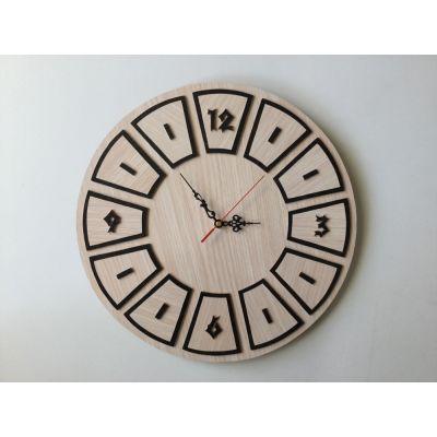 ساعت دیواری چوبی و دستساز دایره ای فانتزی