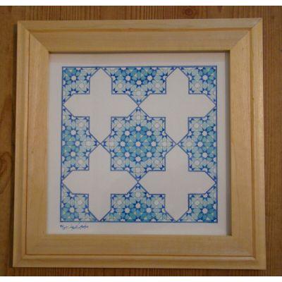 تابلو نقاشی آبرنگ با قاب چوبی - نقش زلیج
