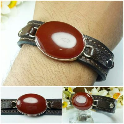 دستبند چرم گاوی با نگین عقیق سرخ معدنی اصل