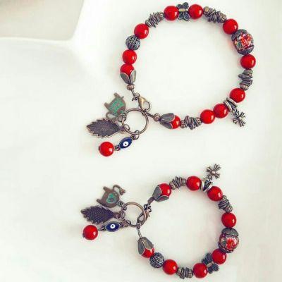 دستبند ست مادر و دختر سنگ مرجان اصل