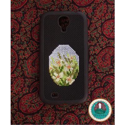 کد ۱۱- قاب موبایل شماره دوزی شده با طرح بوته گل زرد مناسب برای گوشی Samsung S4