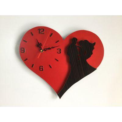 ساعت دیواری عاشقانه قلبی ( عروس دامادی )