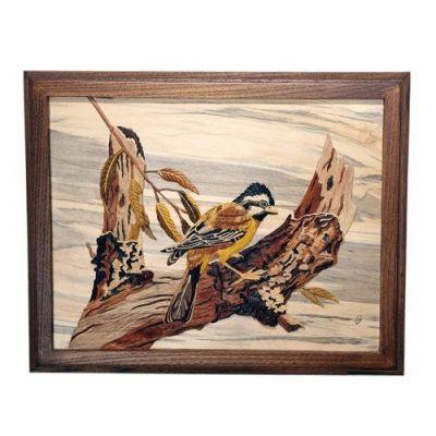 تابلوی تلفیق معرق و منبت(سه بعدی) نفیس پرنده و شاخه